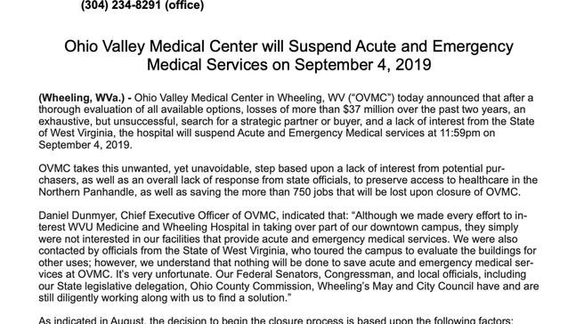 BREAKING: OVMC will suspend acute and emergency medical