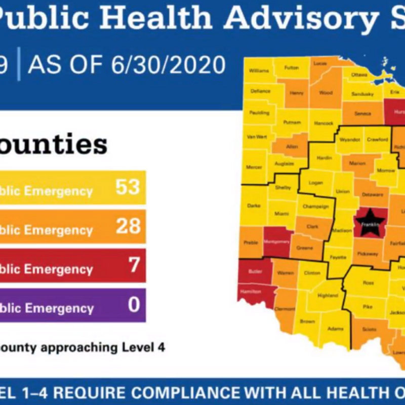 Ohio Adds Color Coded Map Showing Severity Of County By County Cases Wtov